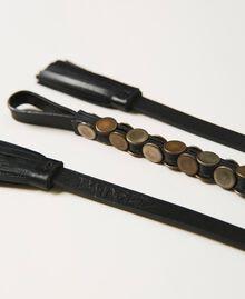 Ledergürtel mit Nieten Schwarz Frau 211TO506D-02