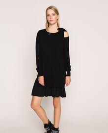 Vestido de mezcla de cachemira con lazo Negro Mujer 201TP3013-02