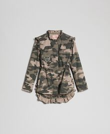 Camouflage print jacket with embroideries Camouflage Print Woman 192TP2032-0S