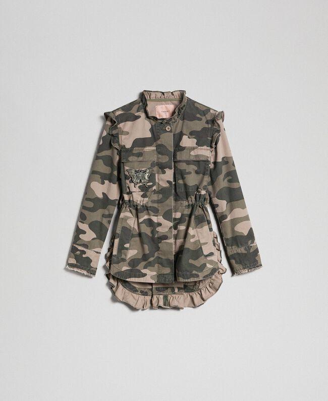 Jacke mit Camouflageprint und Stickereien Frau, Fantasie