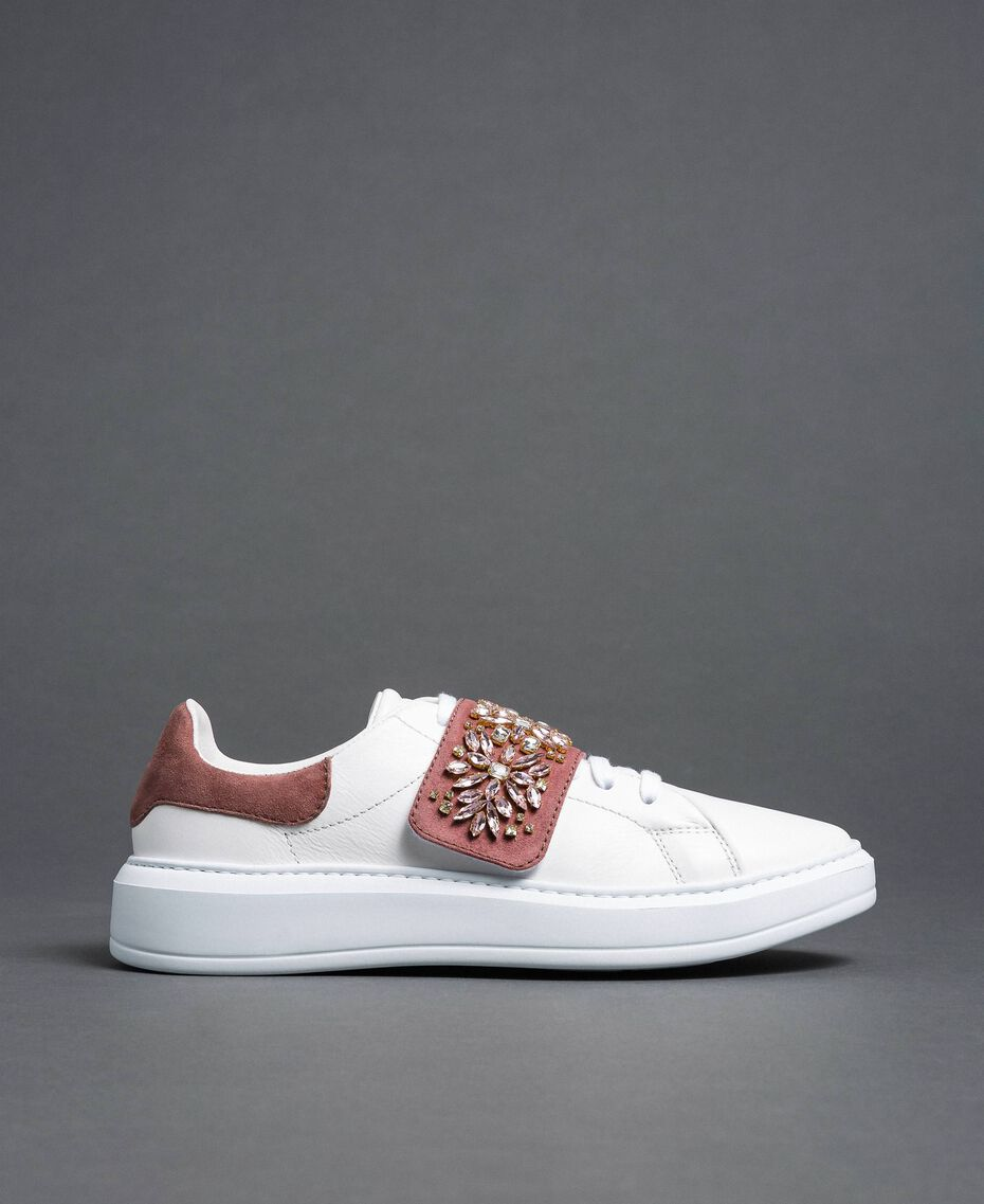 "Leather trainers with rhinestones ""Optical"" White/ ""Nude Pink"" Woman 192TCT110-02"