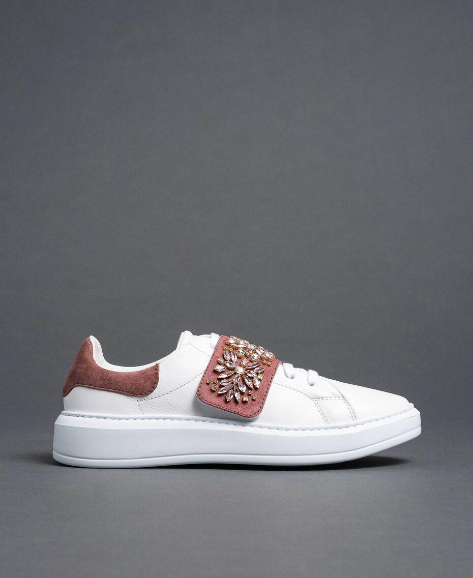 Sneakers aus Leder mit Strass Optisches Weiß / Nude-Rosa Frau 192TCT110-02