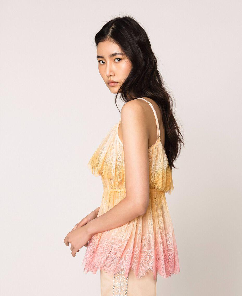 Tie-dye lace top Multicolour Tie Dye Pink Woman 201TT2280-02