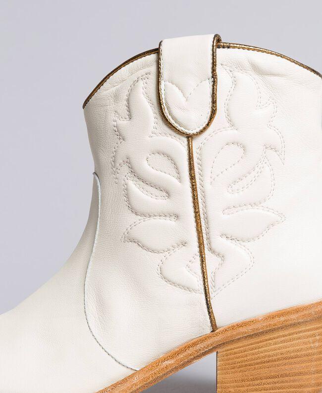 Boots à talons en cuir avec broderie Blanc Neige Femme CA8TGA-04