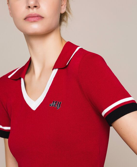 Polo jumper with contrasting trim