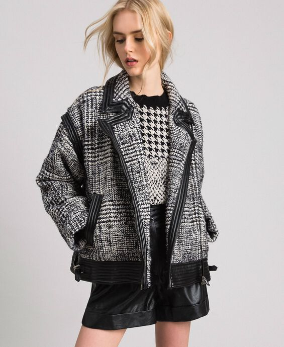 Glen plaid wool cloth biker jacket