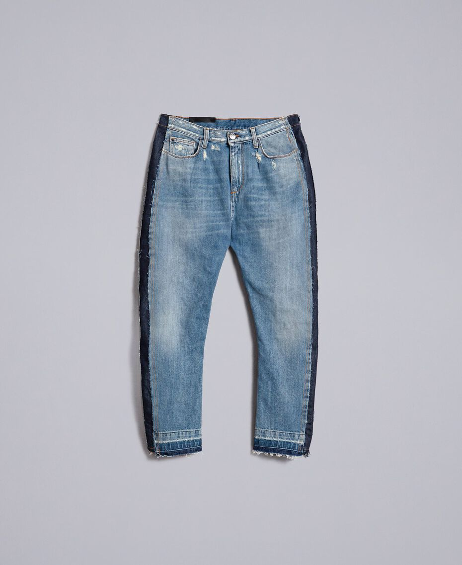 Denim jeans with side panels Denim Blue Woman JA82ZC-0S