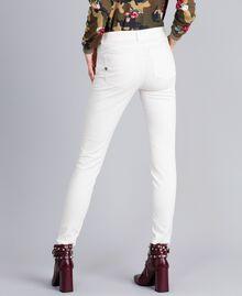 Pantalon skinny en gabardine stretch Nacre Femme JA82W1-03