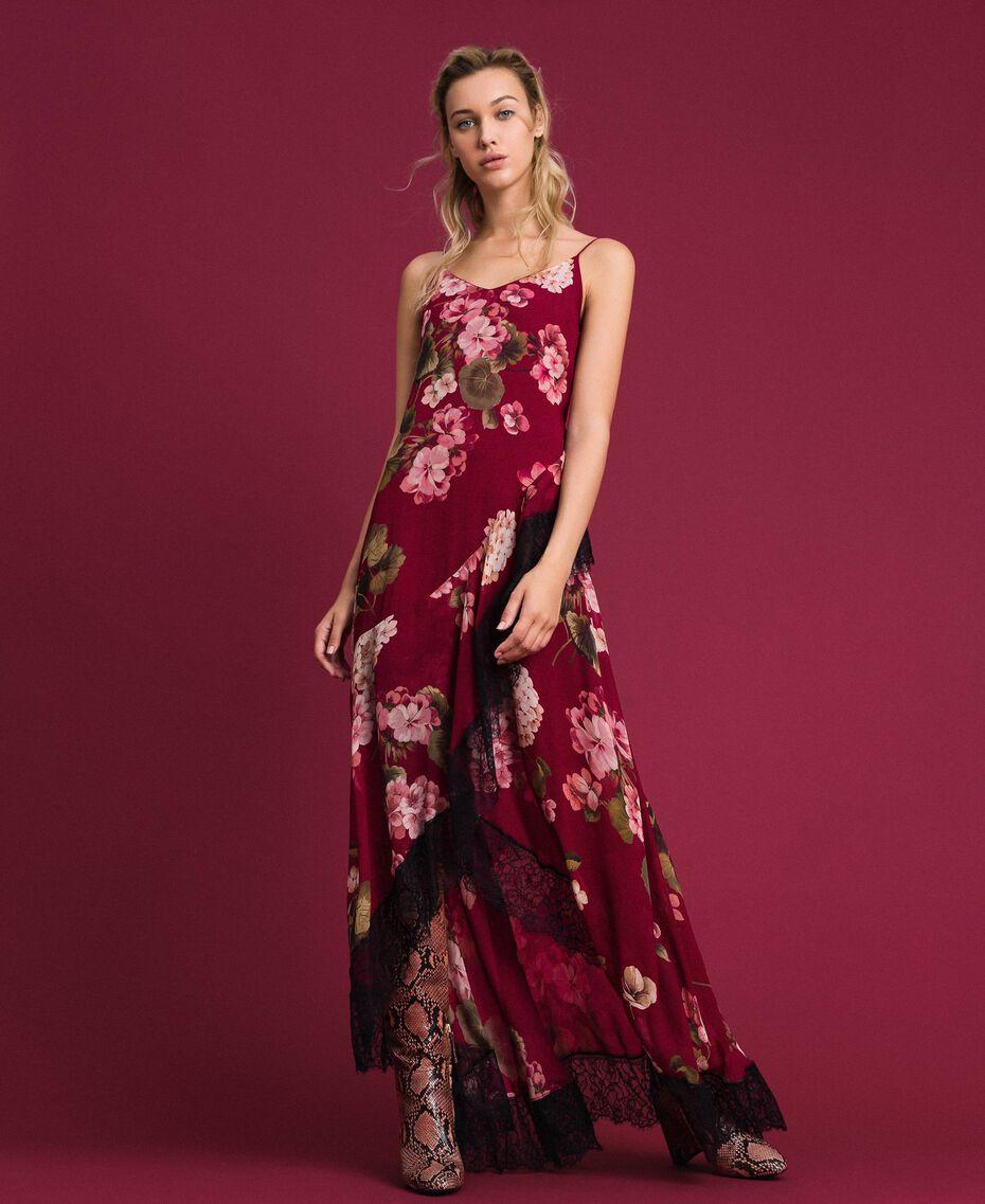 Abito sottoveste in creponne con stampa a fiori Stampa Rosso Beet Geranio Donna 192TP2727-02