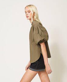 Poplin blouse with embroidery Alpine Green Woman 211TT2472-03