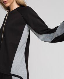 Zip sweatshirt with contrasting details Black/ Melange Gray Woman 192LI2HEE-02