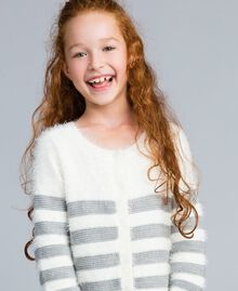 "Cardigan in misto lana a righe Bicolor Off White / Grigio ""Grey Stone"" Bambina GA83E2-0S"