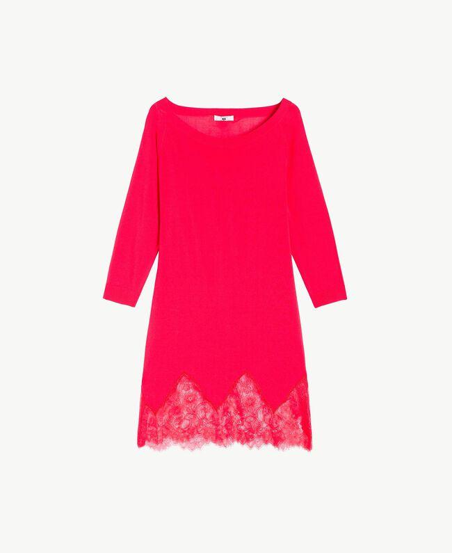 Kleid mit Spitze Kirschrot Frau LS8BPP-01
