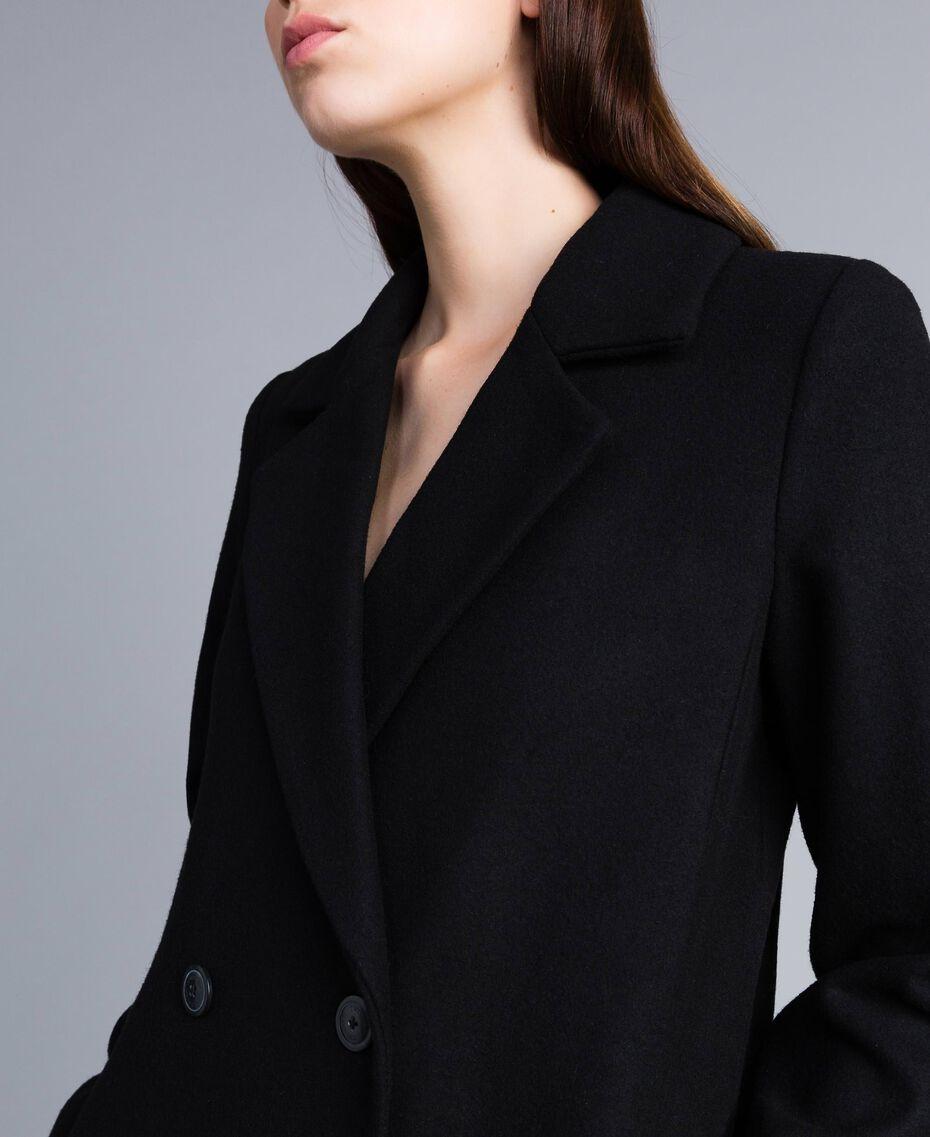 Langer, zweireihiger Mantel aus Tuch Schwarz Frau TA821L-06