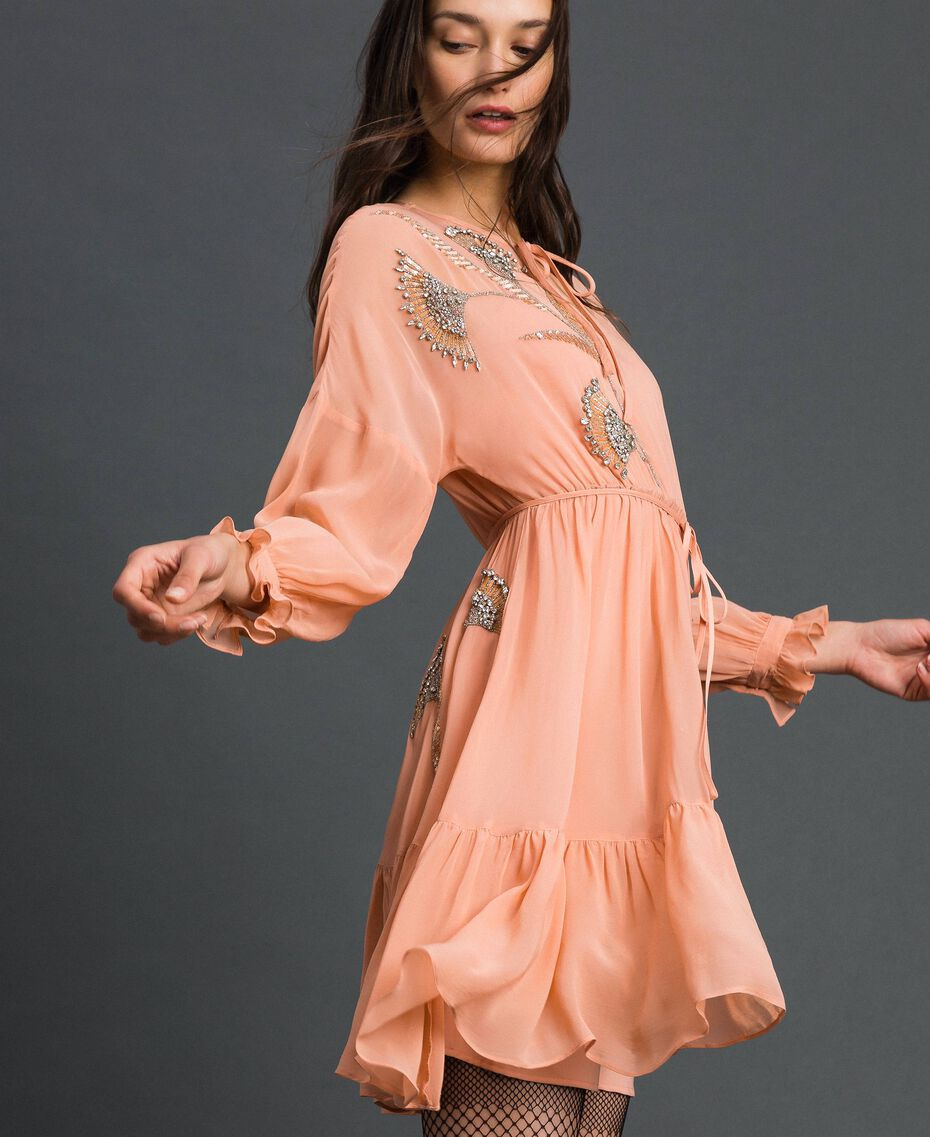 Georgette dress with floral embroidery Mousse Pink Woman 192TP2160-01