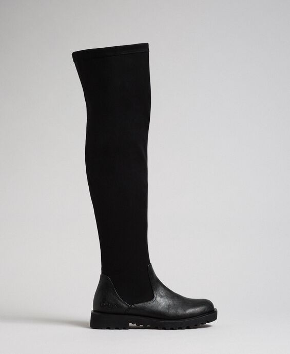Thigh high boots in stretch fabric