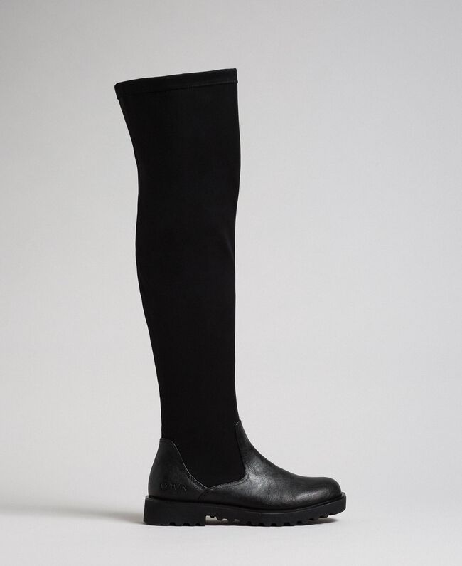 Thigh high boots in stretch fabric Black Woman 192MCT092-01