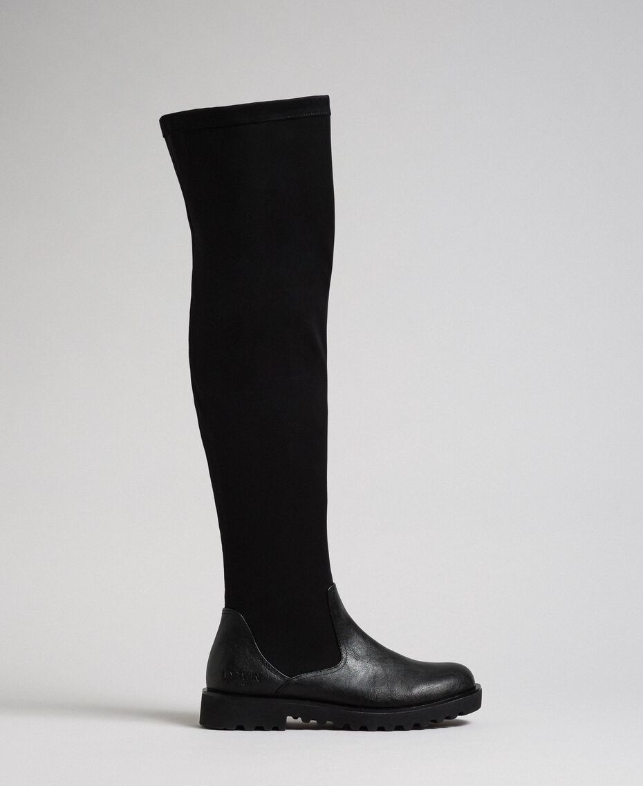 Сапоги-чулки из ткани-стрейч Черный женщина 192MCT092-01