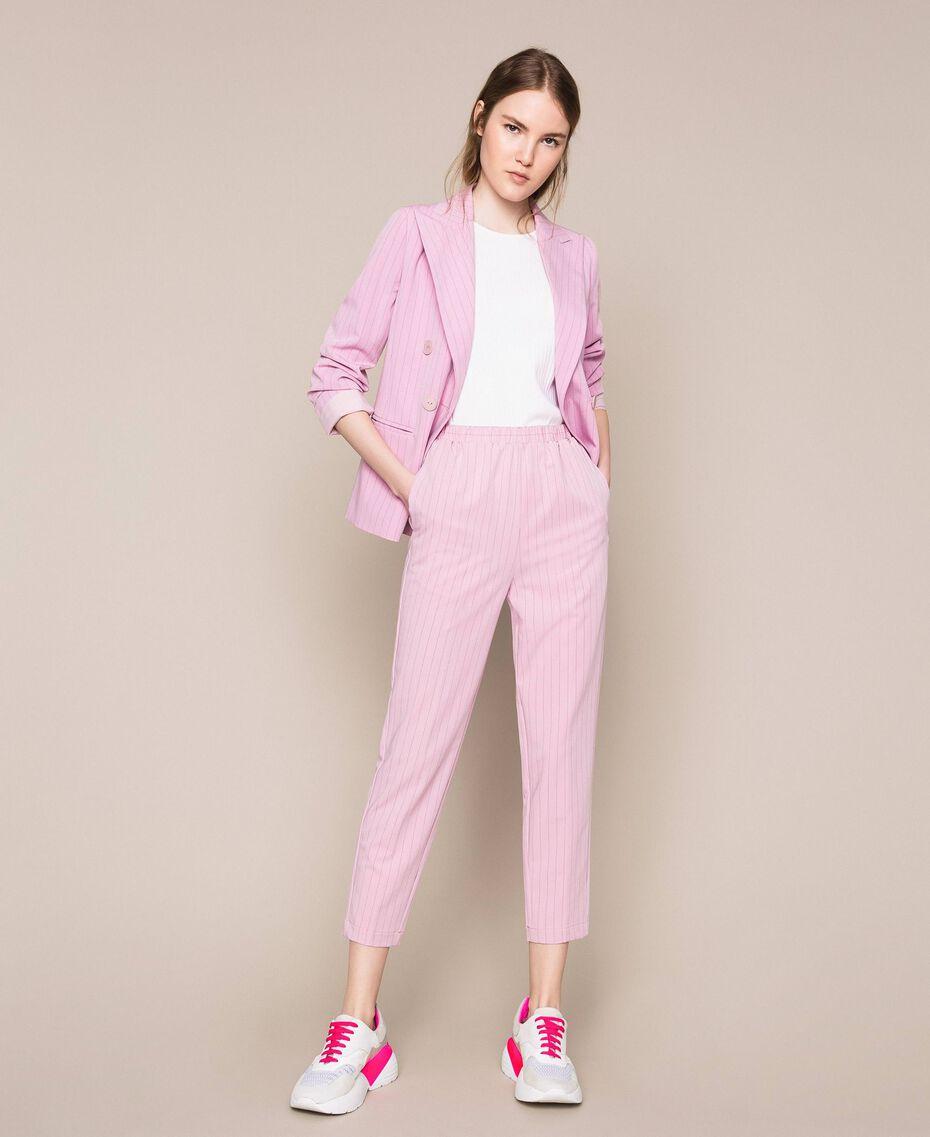 Pantalon cigarette à fines rayures Jacquard Rayé Rose «Bonbon» Femme 201ST2081-01