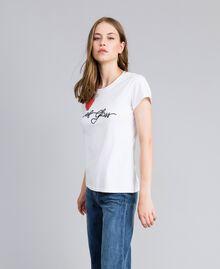 """T-Shirt aus Jersey mit Herz aus Strass """"Ice""""-Weiß Frau JA82MQ-03"""