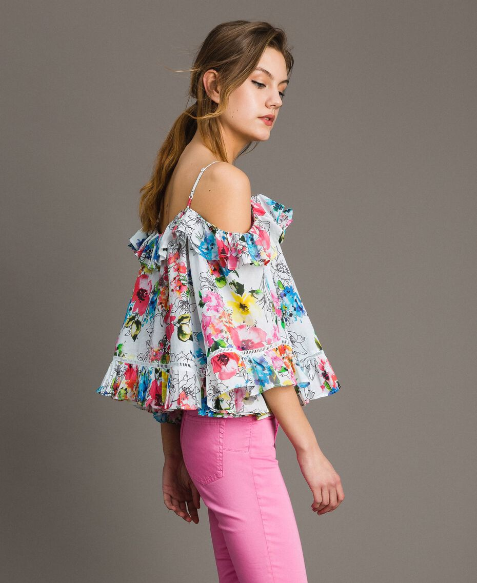 Floral print blouse with flounce All Over Optical White Multicolour Flowers Print Woman 191MT2291-02