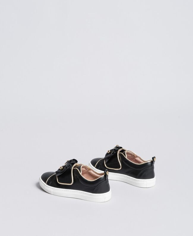 Sneakers in pelle con perle Nero Bambina HA88AE-03