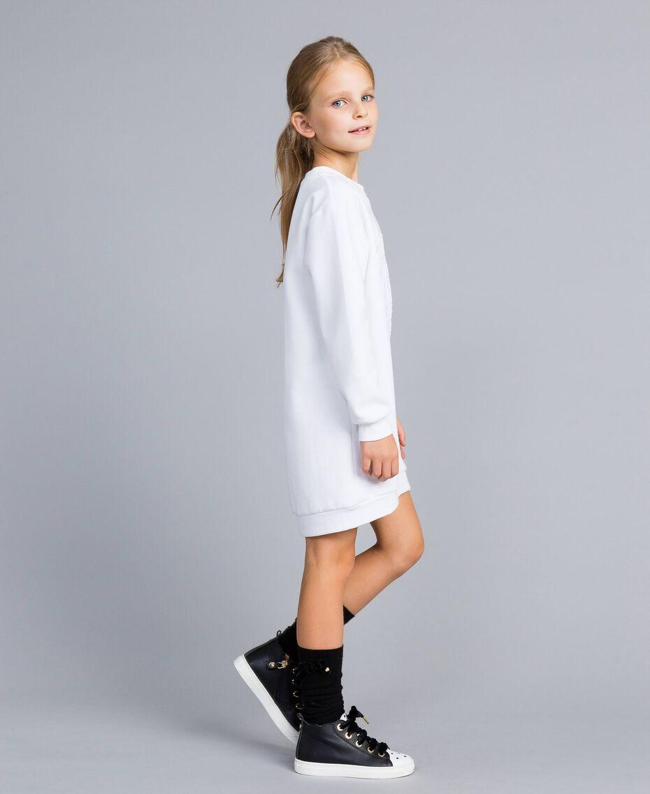 Minikleid aus Baumwollmischung mit Grafik Mattweiß Kind GA82LK-02