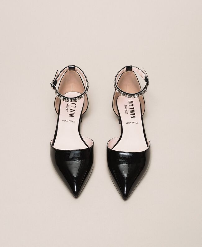 Patent leather ballerina pumps with rhinestones Black Woman 201MCP01G-05