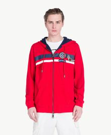"Striped sweatshirt ""Geranium"" Red Man US821Q-01"