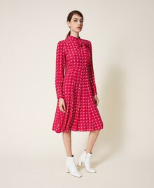 "Crêpe de Chine shirt dress with bow ""Cerise"" Fuchsia /""Dew"" White Optical Print Woman 202ST2502-02"