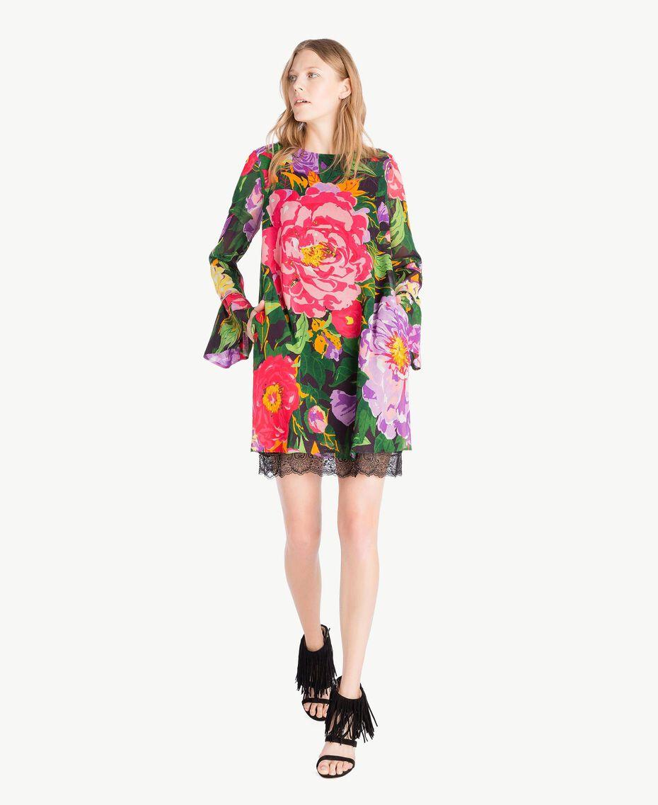 "Kleid mit Print ""Summer Garden""-Print Frau TS8242-01"
