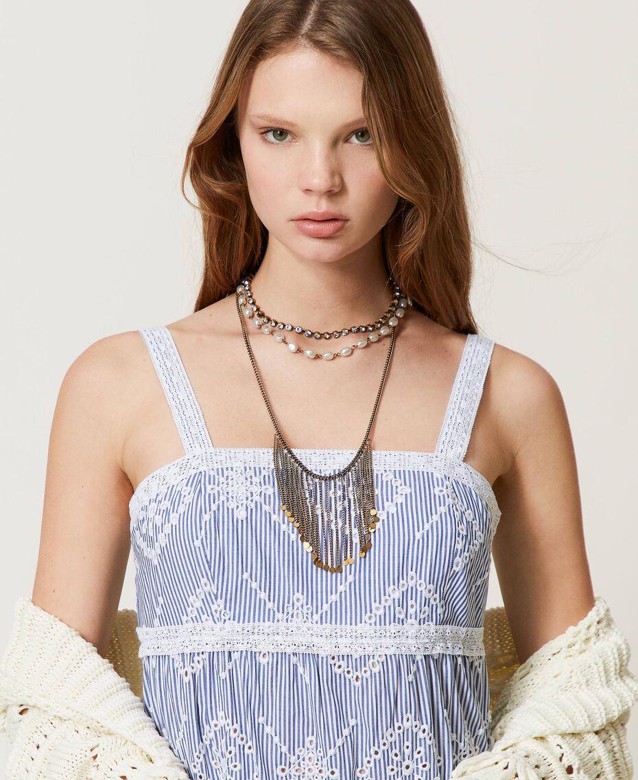 """Ожерелье в несколько нитей с бахромой Золотой """"Состаренная медная латунь"""" женщина 211TO501D-0S"""