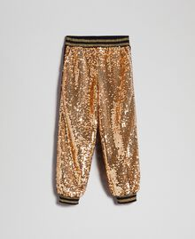 "Velvet and sequin jogging trousers ""Spelt"" Beige Child 192GJ2092-0S"