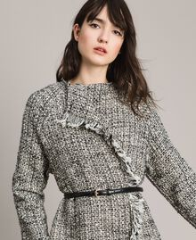 """Fringed tweed duster coat Two-tone """"Snow"""" White Bouclé / Black Woman 191TP2521-04"""