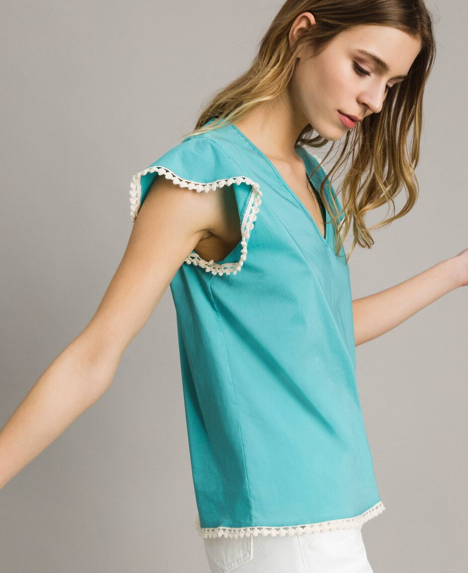 Camiseta de popelina Azul Mousse Mujer 191LB2JDD-02
