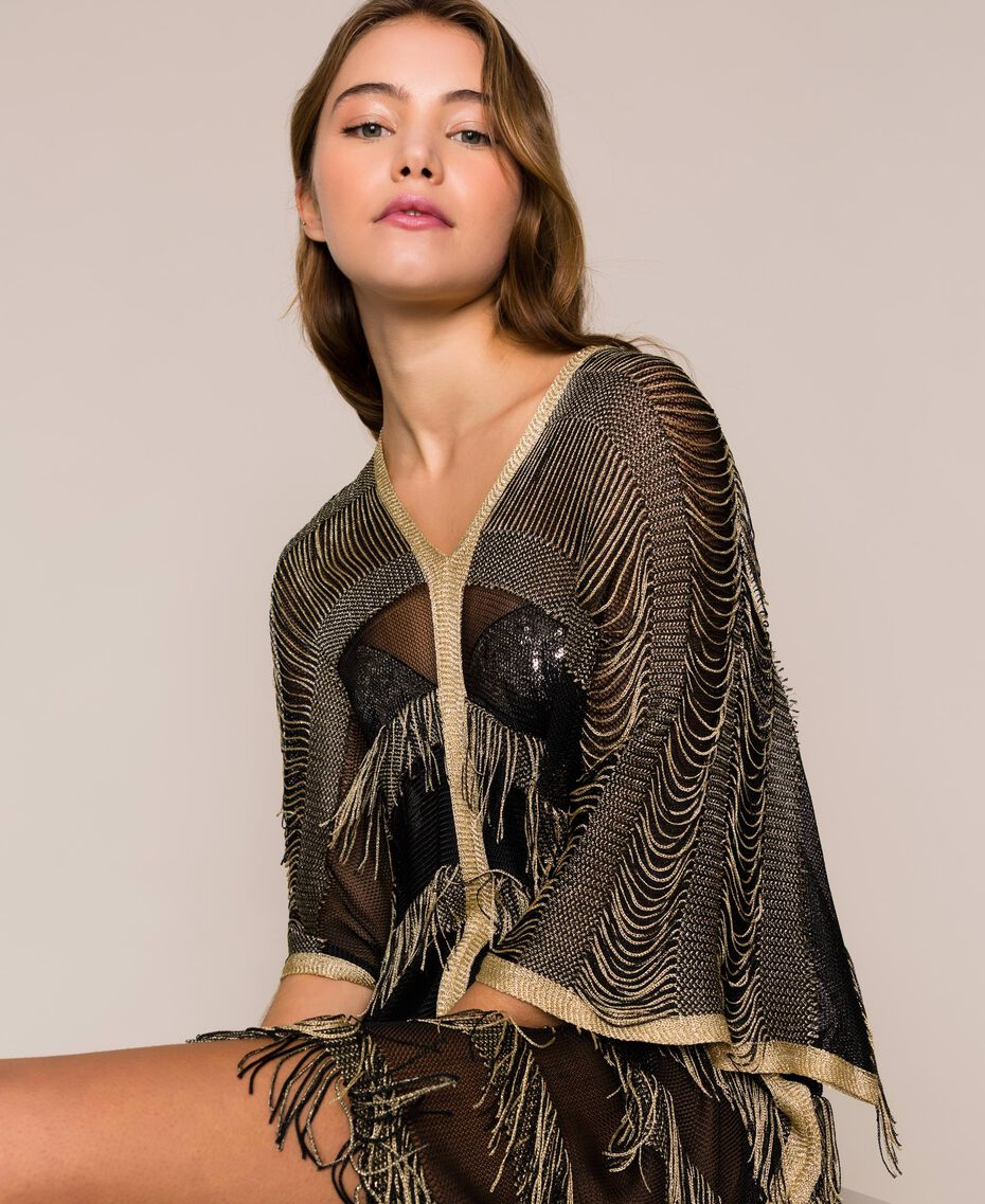 Lurex knit poncho with fringes Two-tone Gold / Black Woman 201LB49FF-01