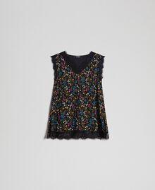 Топ с цветочным принтом и кружевом Мелкий Цветочный Принт Черный женщина 192MP222A-0S