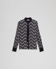 "Floral and chevron print shirt Black / ""Snow"" Chevron Print Woman 192TP2529-0S"