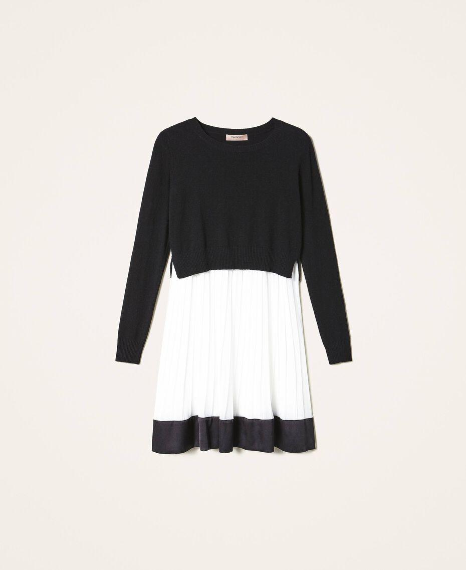 Robe nuisette avec pull en laine mélangée Bicolore Noir / Blanc Neige Femme 202TT3052-0S
