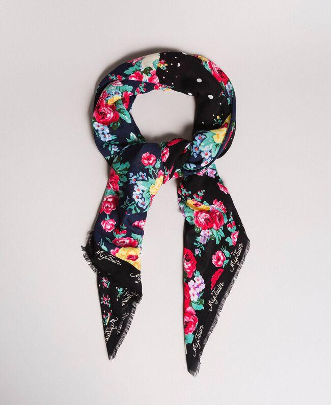 Viskose-Kufiya mit gemischtem Blumenmuster Motiv Gemischt Schwarz Frau 191MA4307-01