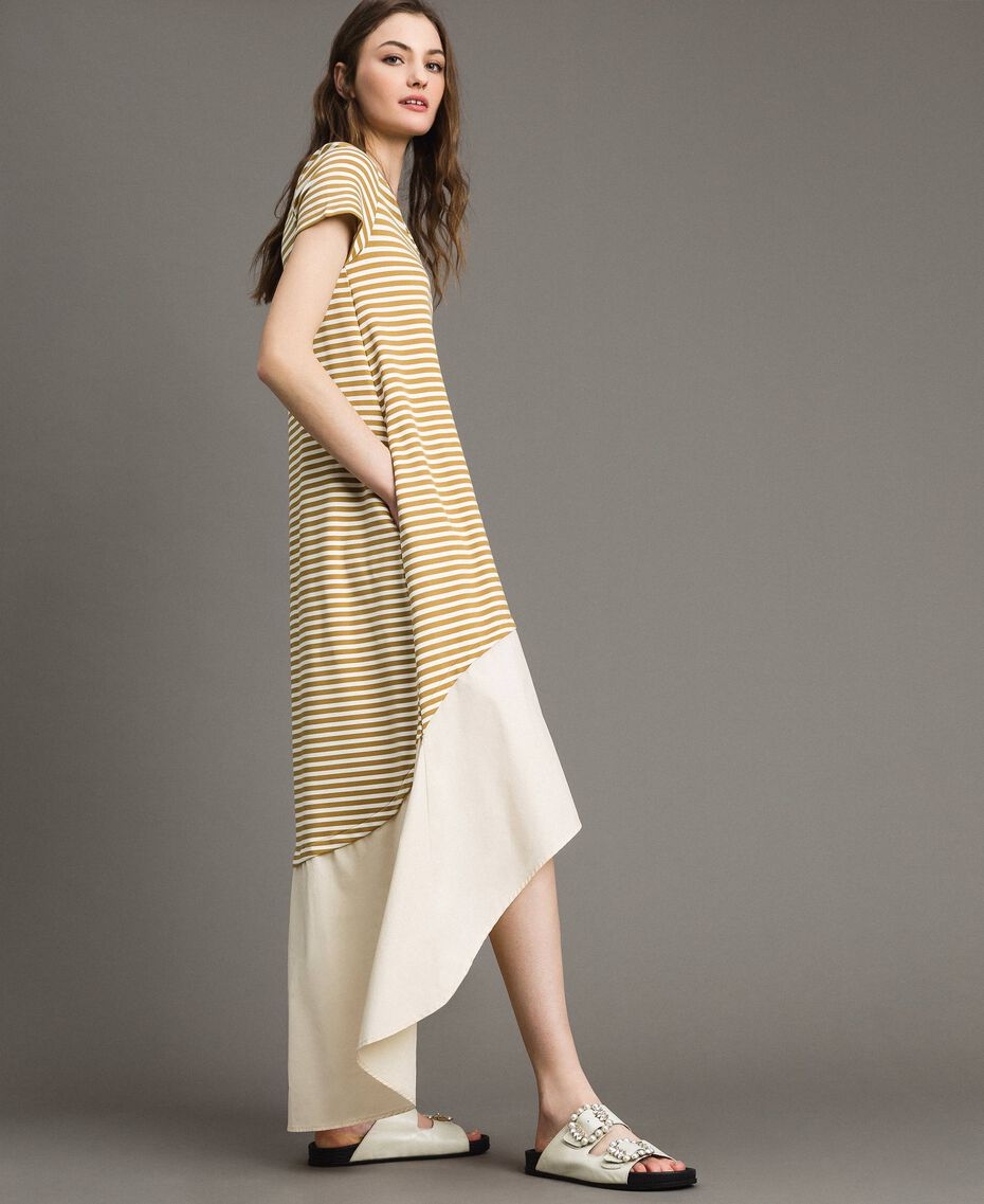 """Striped long dress with flounce Off White / """"Savannah"""" Beige Striping Woman 191ST2034-01"""