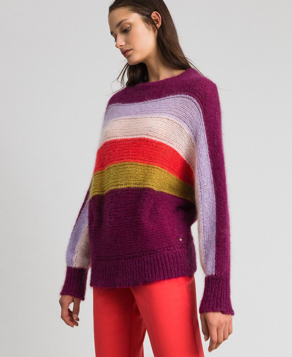 Multicolour stripe mohair jumper Multicolour Stripe Red Velvet Woman 192TT3272-02