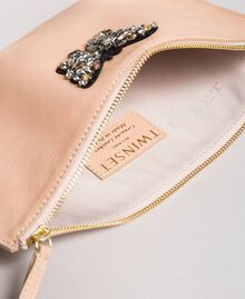 Leather clutch bag with butterfly Nougat Beige Woman 191TA7290-05