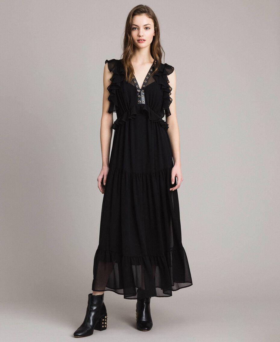Vestido largo de georgette con aros Negro Mujer 191MP2390-01