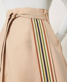 Skirt with multicolour gros-grain Soufflé Nut Brown Woman 202LI2EBB-06