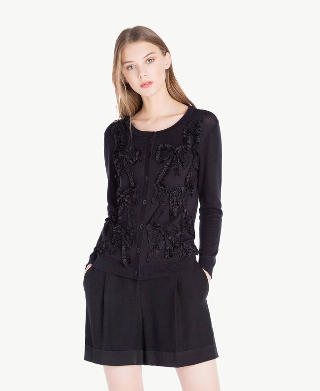 Mandarin collar top with bows Black Woman PS83XB-01