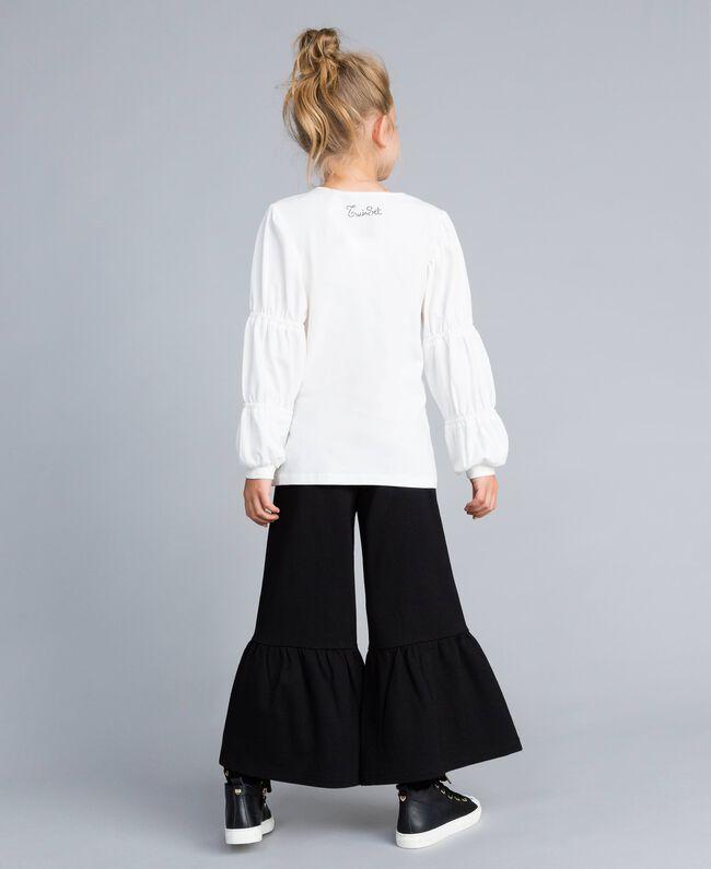 Maxi T-shirt con strass e pietre Off White Bambina GA821N-03