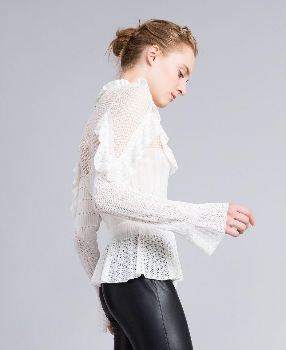 Pullover mit Mustermix in Spitzenoptik Weiß Schnee Frau PA83C6-02