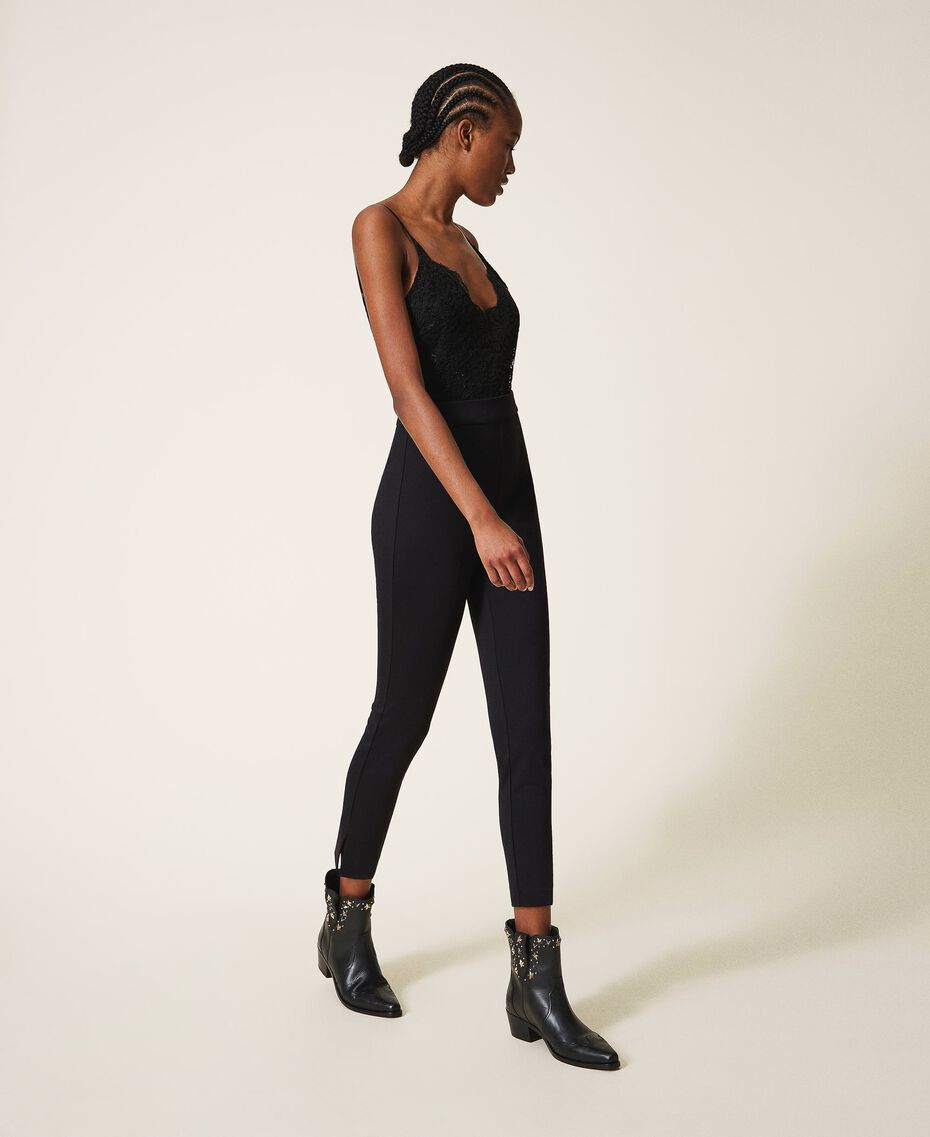 Crêpe de Chine and lace jumpsuit Black Woman 202TT2282-02