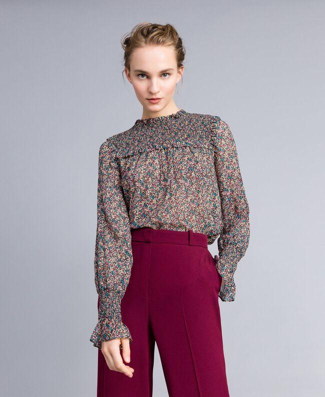 Floral print georgette blouse Multicolour Micro Flower Print Woman PA82MB-01